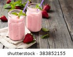 fruit smoothie with mint leaves ... | Shutterstock . vector #383852155
