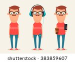 cute cartoon hipsters. colorful ... | Shutterstock .eps vector #383859607