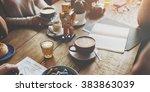 coffee drink beverage joyful...   Shutterstock . vector #383863039