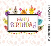 happy birthday greeting card... | Shutterstock .eps vector #383869237
