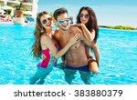 group of friends wearing... | Shutterstock . vector #383880379