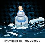 alice stands in a transparent... | Shutterstock .eps vector #383888539