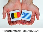 two hands holds the national... | Shutterstock . vector #383907064