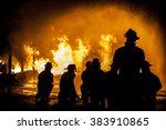 firefighters assessing... | Shutterstock . vector #383910865