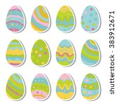 hand drawn vector easter eggs... | Shutterstock .eps vector #383912671