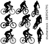 set silhouette of a cyclist... | Shutterstock .eps vector #383924791