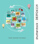 World Travel  Background. Stamp ...