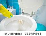a woman cleans a bathroom...   Shutterstock . vector #383954965