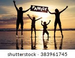 happy family jumping on the... | Shutterstock . vector #383961745