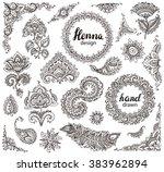 big vector set of henna floral... | Shutterstock .eps vector #383962894