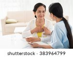 general practitioner and her... | Shutterstock . vector #383964799
