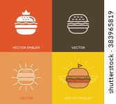 vector burger logo design... | Shutterstock .eps vector #383965819