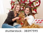 two smiling women with... | Shutterstock . vector #38397595