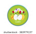 happy easter card with eggs ... | Shutterstock .eps vector #383979157