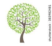 vector illustration of tree on ... | Shutterstock .eps vector #383982481