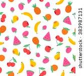 juicy fruits and berries... | Shutterstock .eps vector #383987131