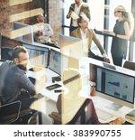 business marketing team... | Shutterstock . vector #383990755