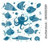 set imprint cute fish and... | Shutterstock .eps vector #384000589