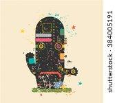 cute monster on retro grunge...   Shutterstock .eps vector #384005191