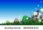 easter eggs on springtime...