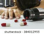 overdose woman drug addict hand ... | Shutterstock . vector #384012955
