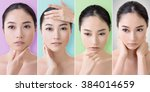 collection of asian beauty face ... | Shutterstock . vector #384014659