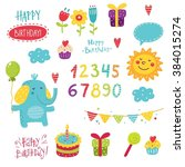 vector set for birthday | Shutterstock .eps vector #384015274