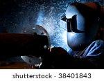 welder with protective mask...   Shutterstock . vector #38401843
