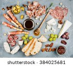 Постер, плакат: Cheese and meat appetizer