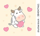 cartoon cute cow with hearts ... | Shutterstock .eps vector #384047461