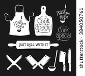 kitchen related typography set. ... | Shutterstock .eps vector #384050761