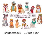 Stock vector cute cats and dogs fashion hipster isolated pets color vector illustration eps 384054154