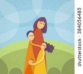 mother three children  family... | Shutterstock .eps vector #384056485