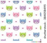 Stock vector smiling cats cartoon seamless vector pattern 384058495