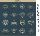 set of line art deco retro... | Shutterstock .eps vector #384058561