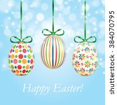 background with colorful easter ... | Shutterstock .eps vector #384070795