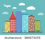 lovely colorful city downtown... | Shutterstock .eps vector #384073255