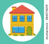 flat house icon. | Shutterstock .eps vector #384074059