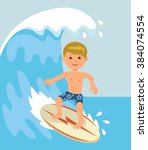 Boy Surfer Rides On The Waves....