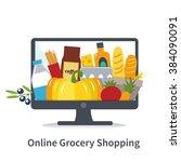 vector online shopping concept... | Shutterstock .eps vector #384090091