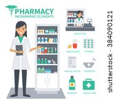 pharmacy vector infographic... | Shutterstock .eps vector #384090121