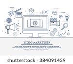 video marketing strategy ... | Shutterstock .eps vector #384091429