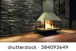modern fireplace in white metal.... | Shutterstock . vector #384093649