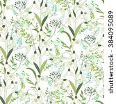 seamless pattern with stylized... | Shutterstock .eps vector #384095089