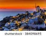 santorini  greece   oia at... | Shutterstock . vector #384098695