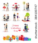 romantic happy valentine day... | Shutterstock . vector #384100747