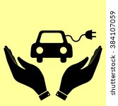 eco electrocar sign. flat style ... | Shutterstock . vector #384107059