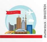toronto detailed silhouette.... | Shutterstock .eps vector #384107824