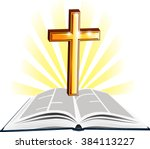 christian holy writ with gold... | Shutterstock .eps vector #384113227