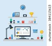 flat design of modern office... | Shutterstock . vector #384115615